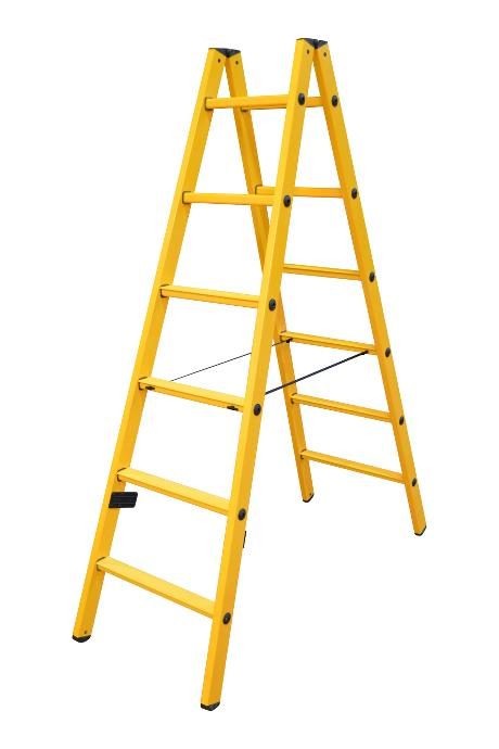 Twin step ladder made of fibreglass 2 x 18 rungs