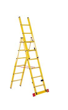 3-section combination ladder made of fibreglass 2x9+6