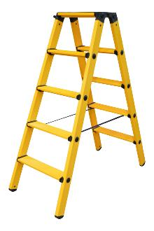 Twin step ladder made of fibreglass 2 x 8 rungs