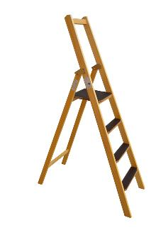 Front step ladder, 4 rungs made of wood: Very stable and easy to fold and carry. 80 mm wide, non-slip rungs - Laminated stiles made of pine