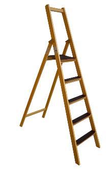 Front step ladder, 5 rungs made of wood: Very stable and easy to fold and carry. 80 mm wide, non-slip rungs - Laminated stiles made of pine