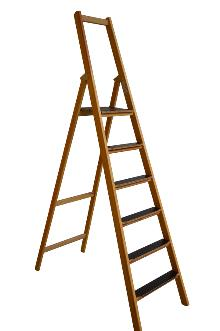 Front step ladder, 6 rungs made of wood: Very stable and easy to fold and carry. 80 mm wide, non-slip rungs - Laminated stiles made of pine