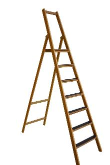 Front step ladder, 7 rungs made of wood: Very stable and easy to fold and carry. 80 mm wide, non-slip rungs - Laminated stiles made of pine