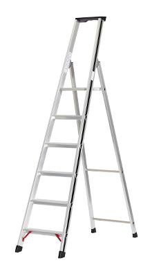 Front step ladder with tray, 6 rungs and 60 cm hanger - PRO