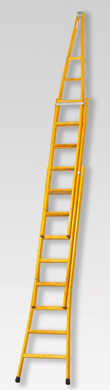 Pointed extension ladder 3x11 rungs - 8.90 m