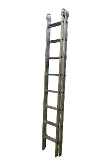 2-section extension ladder 2x8 rungs, PRO - Ergonomic stiles - The ladder is fitted with stops for maximum extension and with rung locks so the ladder can be lifted from the top. Non-slip feet on every stile end.