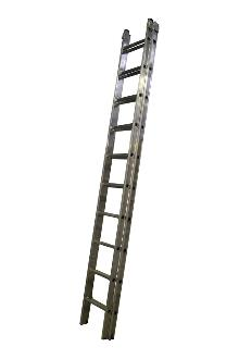 2-section extension ladder 2x10 rungs, PRO - Ergonomic stiles - The ladder is fitted with stops for maximum extension and with rung locks so the ladder can be lifted from the top. Non-slip feet on every stile end.