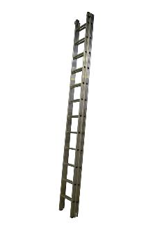 2-section extension ladder 2x12 rungs, PRO w/ stabiliser - Ergonomic stiles - The ladder is fitted with stops for maximum extension and with rung locks so the ladder can be lifted from the top. Non-slip feet on every stile end.