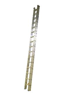 2-section extension ladder 2x18 rungs, PRO - Ergonomic stiles - The ladder is fitted with stops for maximum extension and with rung locks so the ladder can be lifted from the top. Non-slip feet on every stile end.