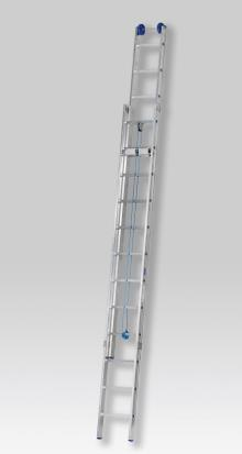 2-section pulley ladder 2x12 rungs, PRO - Sealed ergonomic stiles - Non-slip, strong rubber feet - Fitted with PVC top wheel and ropes for variable height adjustment from the ground - The top wheel extends 30 mm beyond the ladder's maximum length