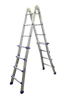 Telescoping ladder, Pro, 4x4 rungs - The ladder with many possibilities. Both sides can be independently adjusted in height, rung by rung. Can be used as a twin step ladder, an extended twin step ladder and as a long single ladder.