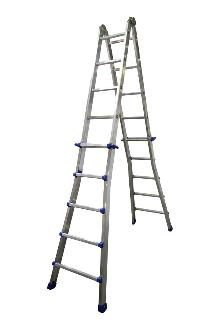 Telescoping ladder, Pro, 4x5 rungs - The ladder with many possibilities. Both sides can be independently adjusted in height, rung by rung. Can be used as a twin step ladder, an extended twin step ladder and as a long single ladder