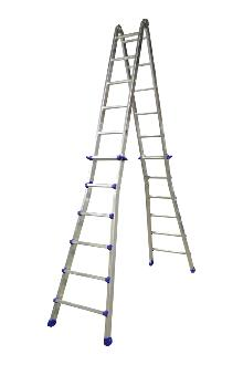 Telescoping ladder, Pro, 4x6 rungs - The ladder with many possibilities. Both sides can be independently adjusted in height, rung by rung. Can be used as a twin step ladder, an extended twin step ladder and as a long single ladder