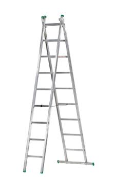 2-section combination ladder 9 + 9 rungs - Standard ladder in aluminium for demanding amateur and semi-professional users.  The combination ladder can be used as a twin step ladder, extension ladder or as 2 single ladders