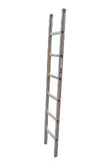 Single ladder, work, 6 rungs - Work single ladder is made of indestructible, corrosion-proof aluminium and specifically designed for professional users. The rungs have curved contact surfaces for a more secure footing. Rung spacing: 300 mm. Width 403 mm