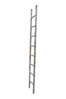 Single ladder, work, 8 rungs - Work single ladder is made of indestructible, corrosion-proof aluminium and specifically designed for professional users. The rungs have curved contact surfaces for a more secure footing. Rung spacing: 300 mm. Width 403 mm