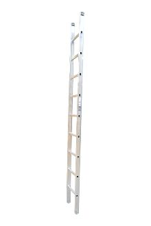 Single ladder, work, 9 rungs - Work single ladder is made of indestructible, corrosion-proof aluminium and specifically designed for professional users. The rungs have curved contact surfaces for a more secure footing. Rung spacing: 300 mm. Width 403 mm