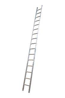 Single ladder, work, 16 rungs - Work single ladder is made of indestructible, corrosion-proof aluminium and specifically designed for professional users. The rungs have curved contact surfaces for a more secure footing. Rung spacing: 300 mm. Width 403 mm