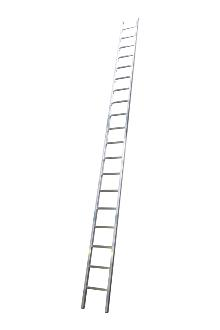 Single ladder, work, 19 rungs - Work single ladder is made of indestructible, corrosion-proof aluminium and specifically designed for professional users. The rungs have curved contact surfaces for a more secure footing. Rung spacing: 300 mm. Width 403 mm
