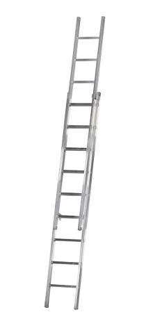 2-section extension ladder 9+9 rungs, Work - The Work ladder is a combination of single, extension and combination ladder that is made of indestructible, corrosion-proof aluminium and specifically designed for professional users.