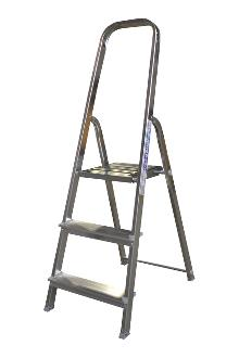 Front step ladder 3 rungs - A good front step ladder for the home or light work. The step ladder has non-slip rungs and a 60 cm high hanger.
