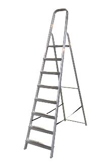 Front step ladder 8 rungs - A good front step ladder for the home or light work. The step ladder has non-slip rungs and a 60 cm high hanger.