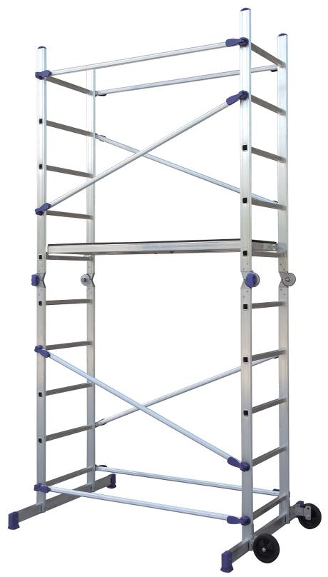 Pinna Multi Scaffolding - Flexible scaffolding - working height up to 3.8 metres and the height can be adjusted as needed. Many different ladder combinations, including: 2 regular ladders with a working height of up to 3.8m, platform, 2 stepladders.